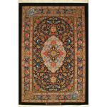 قالیچه دستباف قم تولیدی کاشانی چله و گل ابریشم