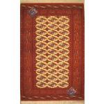 قالیچه دستباف ترکمن چله و گل ابریشم اعلا باف