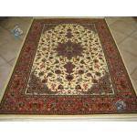 قالیچه دستباف قم چله و گل ابریشم طرح لچک ترنج اصفهان شصت رج
