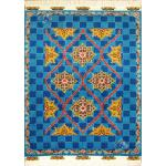 قالیچه دستباف هریس نقشه کاشی رنگ گیاهی گل ابریشم