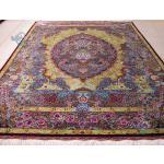 قالیچه دستباف تمام ابریشم قم طرح ترنج یکطرفه تولیدی جدی هشتاد رج