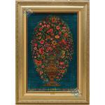 تابلو فرش دستباف تمام ابریشم قم گلدانی یکطرفه تولیدی احمدی