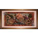 تابلویی فرش دستباف تمام ابریشم قم  نقشه شکارگاه عرضی اعلا باف