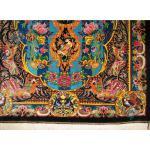 ذرع و چهارک دستباف تمام ابریشم قم تولیدی شفیعی گل و بلبل هشتاد رج