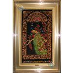 تابلویی فرش دستباف تمام ابریشم قم طرح طاووس تولیدی احمدی بدن قاب