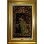 تابلویی فرش دستباف تمام ابریشم قم طرح طاووس تولیدی احمدی