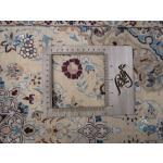رانر فرش دستباف نایین شش لا گل ابریشم طرح دو ترنج اعلا