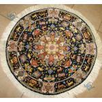 دایره قطر یک متر فرش دستباف تبریز طرح نامی چله و گل ابریشم