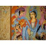 شش متری دستباف تبریز طرح یوسف و زلیخا چله و گل ابریشم
