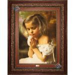تابلو فرش دستباف تبریز طرح دختر دعا گو چله و گل ابریشم