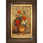 تابلو فرش دستباف تبریز گلدان گل چله و گل ابریشم