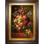 تابلو فرش تبریز طرح گلدان گل و میوه چله و گل ابریشم