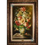 تابلو فرش دستباف تبریز طرح گلدان گل ورسای چله و گل ابریشم
