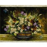 تابلو فرش دستباف تبریز طرح سطل چوبی گل چله و گل ابریشم