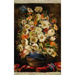 تابلو فرش دستباف تبریز گلدان گل سفالی مارک بهلولی