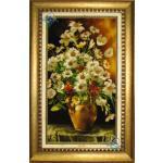 تابلو فرش دستباف تبریز گلدان گل سفالی چله و گل ابریشم