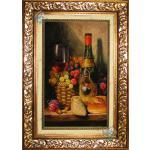 تابلو فرش دستباف تبریز میوه و بطری برجسته باف گل ابریشم