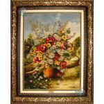تابلو فرش دستباف تبریز گلدان و کلبه چله و گل ابریشم