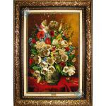 تابلو فرش دستباف تبریز گلدان گل نقره چله و گل ابریشم