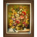 تابلو فرش دستباف تبریز سطل پر گل چله و گل ابریشم برجسته باف