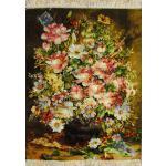 تابلو فرش دستباف تبریز گلدان گل سنگی ابریشم بدون قاب
