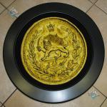 تابلو فرش دستباف تبریز سکه پهلوی شیر برجسته باف