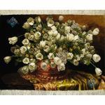 تابلو فرش دستباف تبریز طرح گلدان مسی لاله سفید بدون قاب