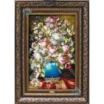 تابلو فرش دستباف تبریز طرح گلدان گل تولیدی تقوی