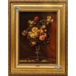 تابلو فرش دستباف تبریز طرح گلدان گل آنتیک چله و گل ابریشم