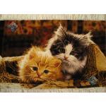 تابلو فرش دستباف تبریز طرح دو گربه گل ابریشم بدون قاب