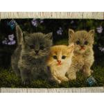 تابلو فرش دستباف تبریز طرح سه گربه گل ابریشم