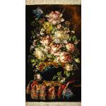 تابلو فرش دستباف تبریز طرح گلدان و فرش چله و گل ابریشم