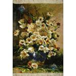 تابلو فرش دستباف تبریز طرح گلدان تولیدی نجاری چله و گل ابریشم