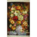تابلو فرش دستباف تبریز طرح گلدان چینی  چله و گل ابریشم