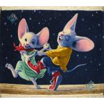 تابلو فرش دستباف تبریز طرح رقص موشها چله و گل ابریشم