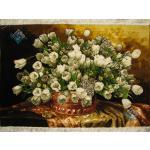 تابلو فرش دستباف تبریز طرح گلدان گل مسی لاله سفید بدون قاب