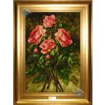 تابلو فرش دستباف تبریز طرح چهار شاخه گل چله و گل ابریشم