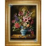 تابلو فرش دستباف تبریز طرح پارچ پراز گل چله و گل ابریشم تولیدی علیپور