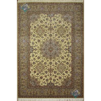 شش متری دستباف اصفهان چله و گل ابریشم تولیدی داوری هجده صدتایی