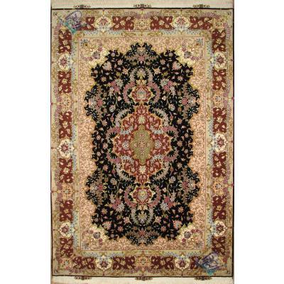 قالیچه دستباف تبریز طرح بنام چله و گل ابریشم