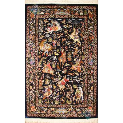 قالیچه تمام ابریشم قم طرح شکارگاه