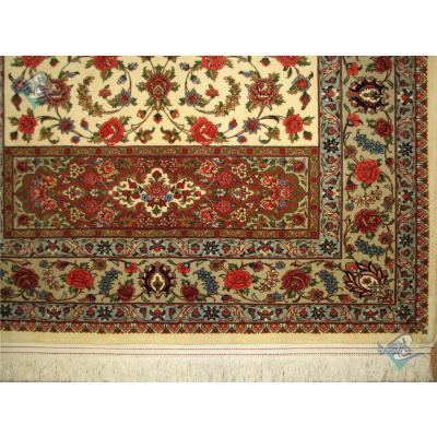 قالیچه دستباف قم طرح افشان کتیبه ای کرک و ابریشم