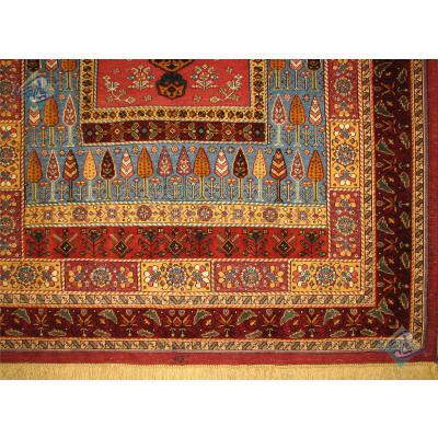 قالیچه دستباف سوزنی فرش سیرجان اعلا باف طرح سرو وکاج