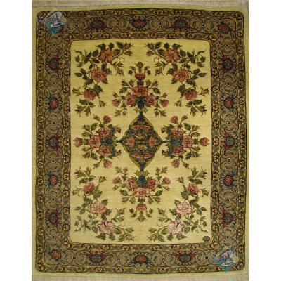 قالیچه دستباف سنندج نقشه منحصر بفرد گل ژرسه چله و گل ابریشم