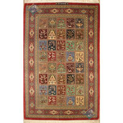 قالیچه دستباف تمام ابریشم قم خشتی تولیدی روزگرد