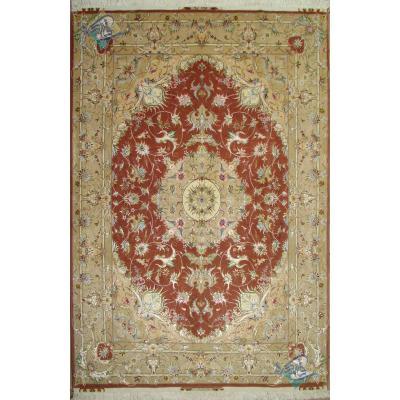 Pair Rug Tabriz Carpet Handmade Ardam Design