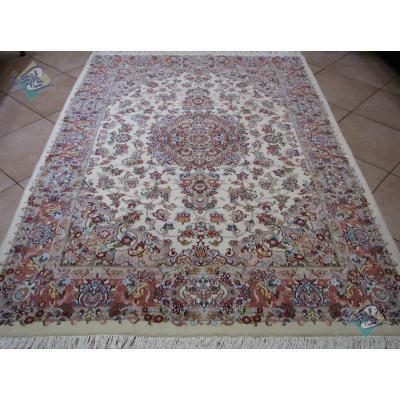 قالیچه دستباف کاشمر کرک و ابریشم طرح خطیبی