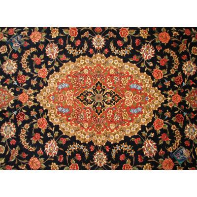 قالیچه دستباف کرک و ابریشم قم طرح لچک ترنج گل فرنگ