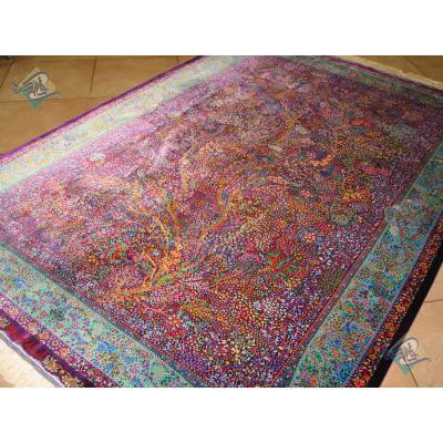 قالیچه دستباف تمام ابریشم قم تولیدی رضایی نقشه اسحاقی اعلا باف