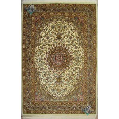قالیچه دستباف قم چله و کف ابریشم طرح ترنج تولیدی فتحی